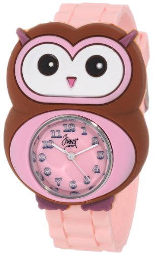 Frenzy Kids' FR2005 Owl Critter Face With Pink Rubber Band Watch