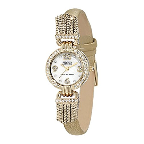badgley-mischka-womens-ba-1212mpgd-swarovski-crystal-accented-gold-tone-leather-strap-watch
