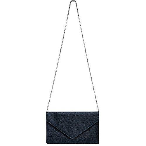 Mano Para Fiesta Azul Brillo Con clutch Bolso Larga Cadena Caspar Elegante Ta357 De Mujer Oscuro Ta4Ynwtq