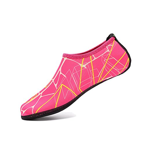 EQUICK Water Socks Durable Aqua Fins Barefoot Shoes New Version Updated Size Beach Pool Swim Surf Yoga Exercise 3c.red SmoyCgk