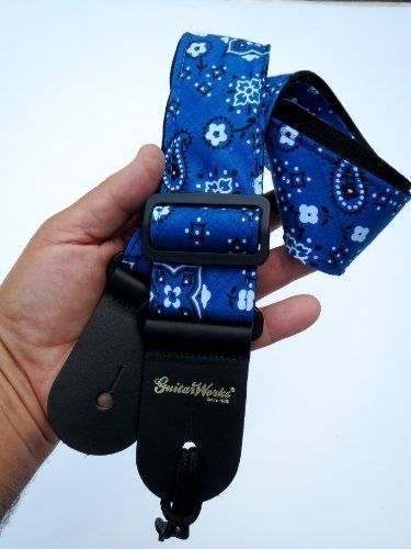 Guitar Strap For Acoustic Electric And Bass Blue Bandana Cloth On Black Nylon Solid Leather Ends Tie Lace Included Made In U.S.A.