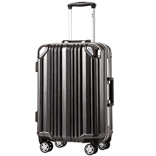 Coolife Luggage Aluminium Frame Suitcase 3 Piece Set with TSA Lock 100%PC (L(28in), Black) by Coolife