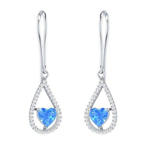cea3b64bb4ca Demira Jewels aretes de topacio azul topacio con forma de corazón simulados  con acentos de diamantes certificados IGI en plata de ley - Compras  Davivienda