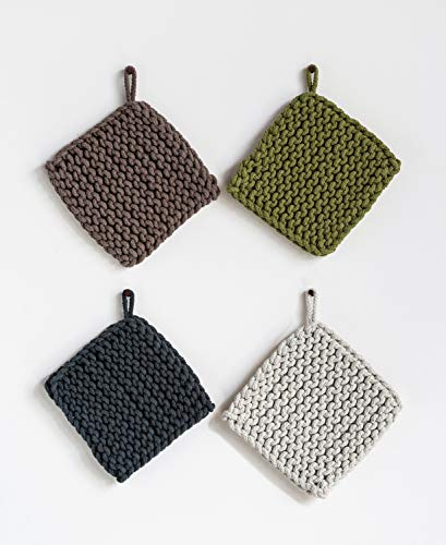 Crocheted Pot Holder - Creative Co-op Square Cotton Crocheted (Set of 4 Colors) Pot Holder, Multicolored