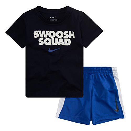Nike Kids Outfit - NIKE Children's Apparel Boys' Little Graphic T-Shirt and Shorts 2-Piece Set, Hyper Royal/Obsidian, 5