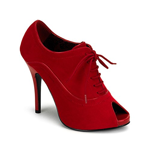 4 3/4 Pouces Hee Sexy Rouge Velours Oxford Pompe Chaussure Lacets Jusquà Bottine