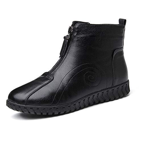 Noir AVBGT Nouvelles Bottes de Coton, Chaussures en Coton, Hiver Chaud, Cuir antidérapant de Fond Plat de Flanelle en Cuir véritable 2018 Nouveau Style Thirty-six
