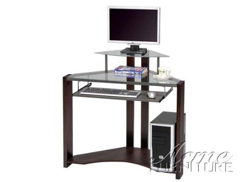 Glass Top Corner Computer Desk w/ Monitor Stand #AC 010114