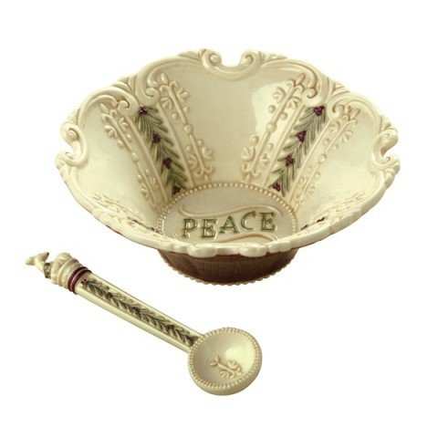 Peace Holly - Grasslands Road Deck the Halls Peace Holly Leaf Nut Candy Bowl with Spoon