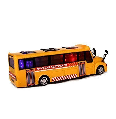 Gift Idea | Dazzling Toys Battery Operated Yellow School Bus Toy with 3D Flashing Lights and Music, Moves Around