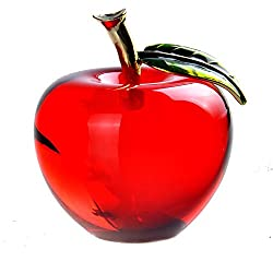Red Crystal Apple Paperweight Glass Paperweight Pretty Gifts Crafts Art&Collection Christmas Home Wedding Gifts Decoration K0182