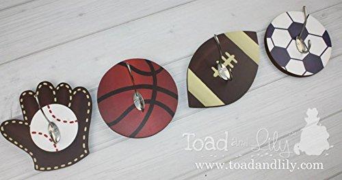 Set of 4 Sports Baseball Basketball Soccer Football All Star Boys Clothes Peg Rack, Hat Holder for Kids Bedroom 4WH001 ()