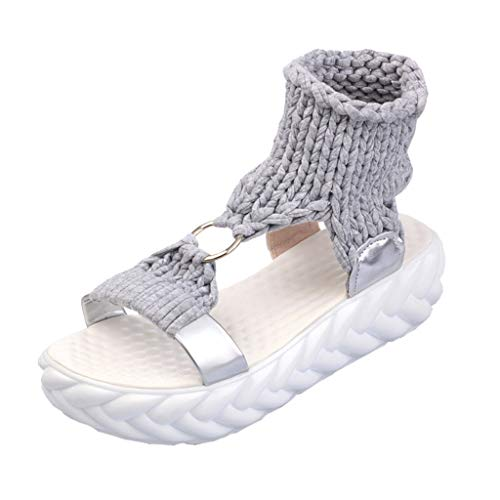Low Wedge Flat Shoes,Women's Open Toe Platform Shoes - Summer Casual Knitting Slip on Sandals Gladiator Flat Sneakers (Gray, US:7) ()