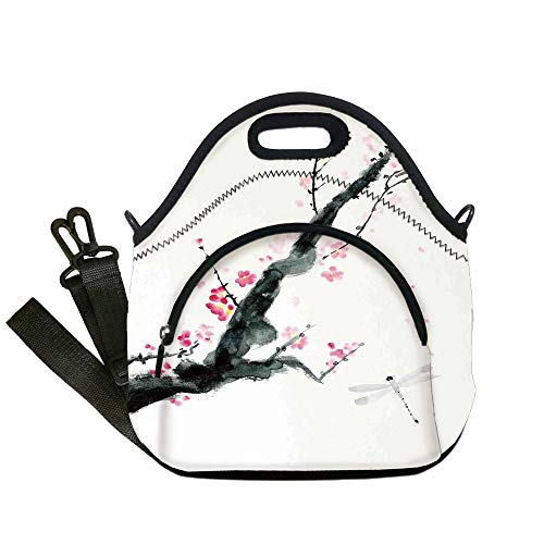 Insulated Lunch Bag,Neoprene Lunch Tote Bags,Dragonfly,Branch of a Pink Cherry Blossom Sakura Tree Bud and A Dragonfly Dramatic Artisan,Pink Black,for Adults and children ()