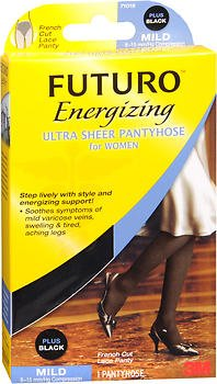 FUTURO Energizing Ultra Sheer Pantyhose For Women French Cut Lace Panty Mild Plus Black 1 Pair (Pack of - Cut Lace French Panty