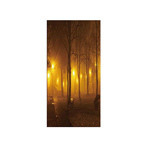 3D Decorative Film Privacy Window Film No Glue,Fall,Foggy Evening in The Park Autumn Season Nature Outdoors Misty Peaceful View,Marigold Caramel,for Home&Office