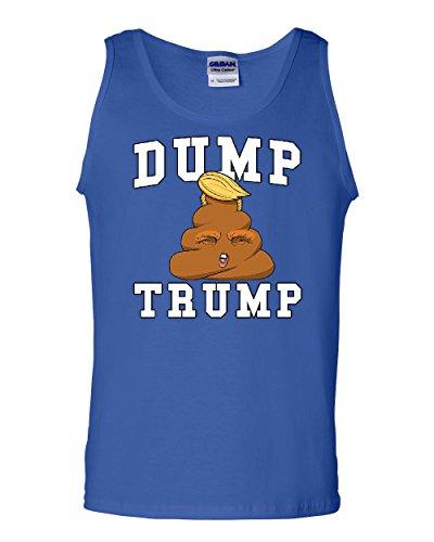 Tee Hunt Dump Trump Tank Top Poop Emoji Funny Anti-Trump Parody Impeach Sleeveless Blue L