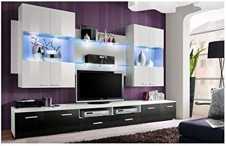 PRICE FACTORY just for you - Mueble de Pared para televisor, Color Blanco y Negro de Alto Brillo con LED: Amazon.es: Hogar