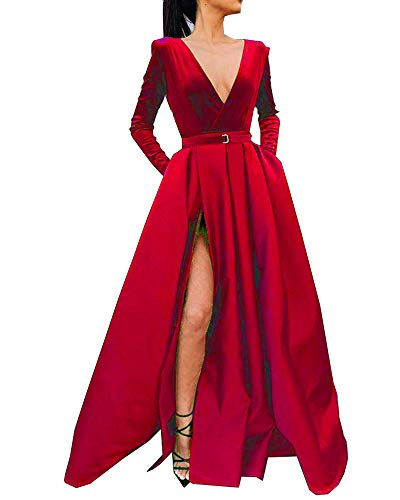 (MariRobe Women's High Split Evening Dress V Neck Prom Gown Long Sleeve Party Gown US2 US14 Red)