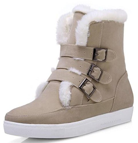 IDIFU Womens Comfy Faux Suede Fleece Lined Buckle Flat Ankle High Snow Boots Beige juVx1Bep