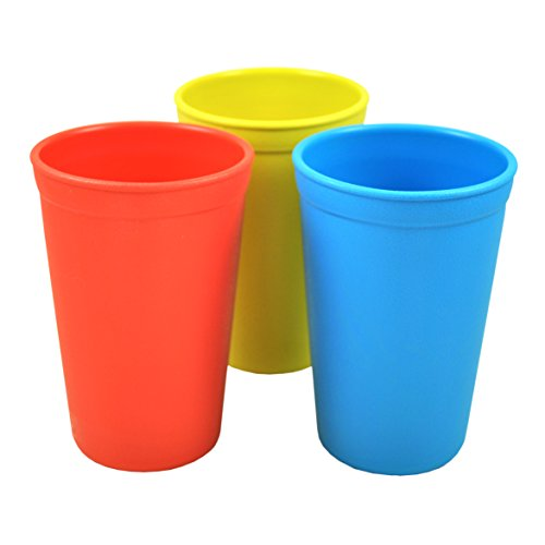 Re-Play Made in The USA 3pk Drinking Cups for Baby, Toddler, Child Mealtime - Red, Sky Blue, Yellow (Preschool)