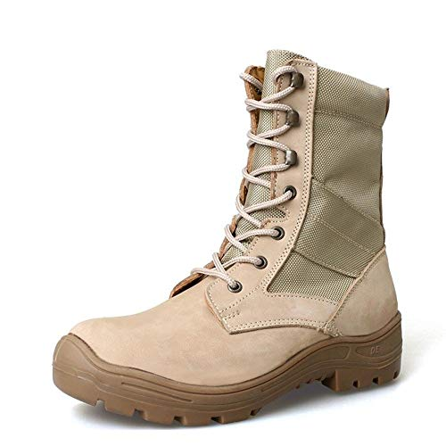 YYIN Men's PU Outdoor Boots Ultra Light Tactical Boots High Boots Shockproof Desert Boots Anti-Slip Work Hiking Boot (Color : Sand, Size : 44)