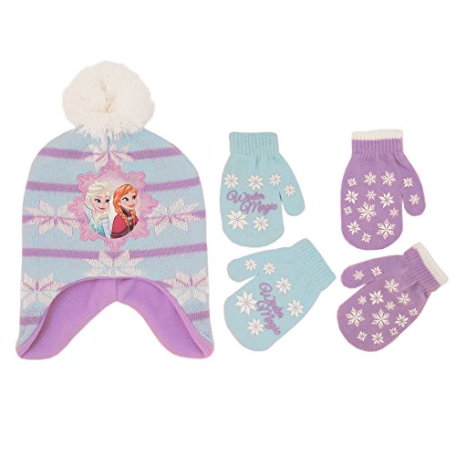 Disney Little Girls Frozen Elsa and Anna Hat and 2 Pair Mittens or Gloves Cold Weather Accessory Set, Age 2-7 (Toddler Girls Age 2-4 Hat & 2 Pair Mittens Set)
