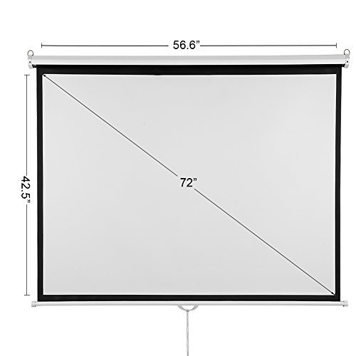 Projector Screen 72 inch, Viewlex Pull Down Projection Screen Outdoor Indoor Office HD 4:3 Portable Home Theater Screen for Movie TV Game Sport Presentation Wrinkle-Free Easy to Clean