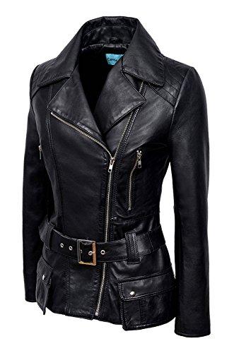Cuir Veste Smart Style Féminine En Range Pour Vintage Véritable Designer 2812 Noir Biker Mesdames Motard »washed UHUqtwgx5