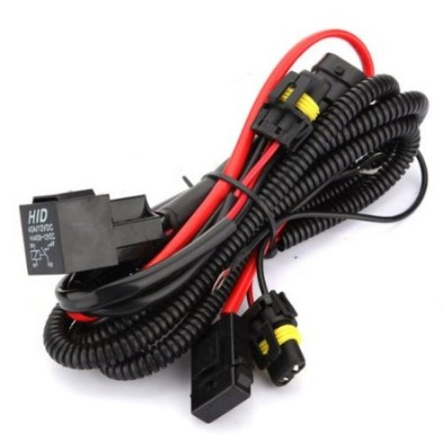 Kensun HID Conversion Kit Universal Single Beam Relay Wiring Harness - H1 H3 H7 H8 H9 H10 H11 9005 9006 5202 880 881 9140 9145 (Battery Red Racing Cat Case)