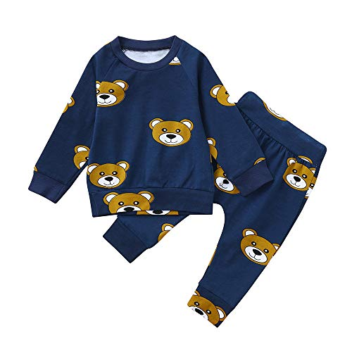 2PCS Toddler Baby Long Sleeves Cartoon Deer Print Top Clothes+Pants Set Outfit Ships Free (Blue, 3-6 Months) ()