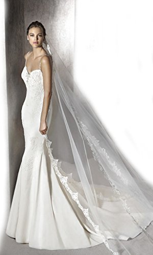Gogh Ivory NEW! Lace Plunging Sheath Wedding Dress Size US14 by Gogh