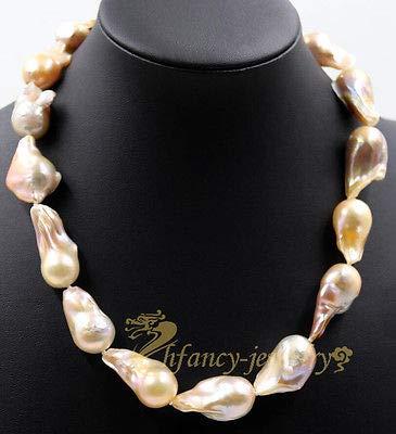 (FidgetKute Large Pink Unusual Keshi Keishi Drip Baroque Freshwater Pearl Necklace 20