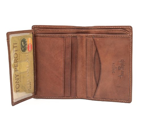 Vertical Italian - Tony Perotti Italian Cow Leather Front Pocket Vertical Bifold Wallet with ID Window Flap, Brown