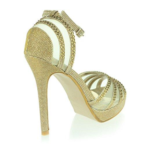 Mujer Señoras Dos Partes Punta Abierta Correa de Tobillo Plataforma Diamante Delgado Tacón Alto Noche Fiesta Boda Prom Nupcial Sandalias Zapatos Talla Oro.