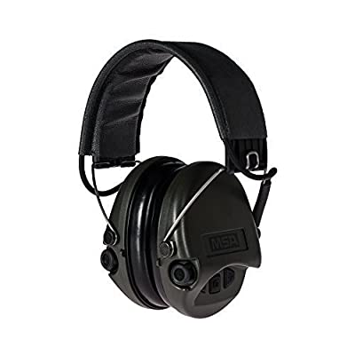 MSA Sordin Supreme BASIC with AUX Input and grey Leather-Band SOR75301 - Electronic Earmuff Defenders Hearing Protection by MSA Sordin
