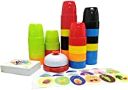 Quick Stacks Cups Games for Kids,Speed Cup Game for Family,54 Word and Color Education Challenges Cards,24 Cup