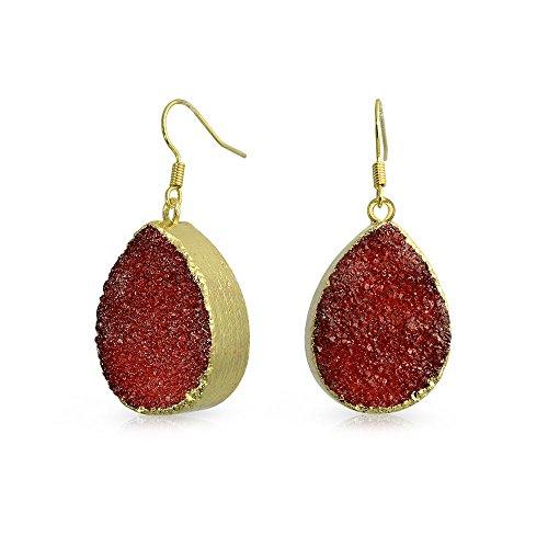 Agate Stone Earrings (Teardrop Dangle Earrings Dyed Red Druzy Agate Gold Plated Brass 1.4 Inch)