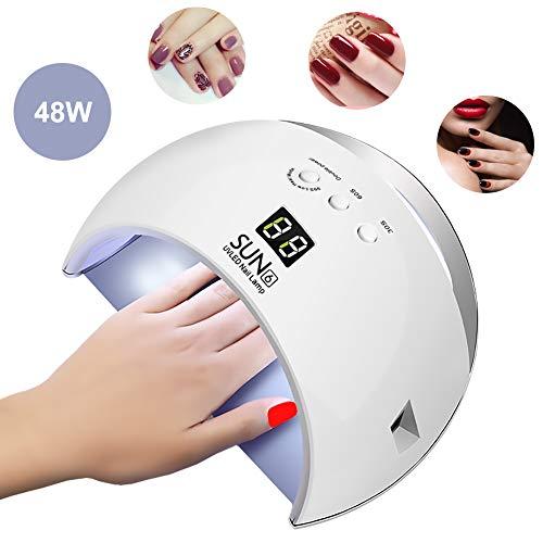 Topwey UV Nail Lamp ,48W LED Nail Dryer Lamp for Gel Nails and Toe Nail, Professional Nail Art Tools with Sensor 3 Timer Setting & Sensor (Gel Nail Polish Vs Regular Nail Polish)