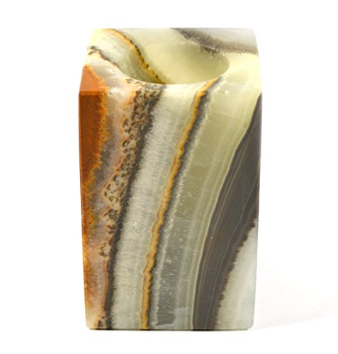 Jupiter Green Stone Candle Holder for Tea Candles, Real Hand Carved Onyx Aragonite - Prism Shaped, 3.75