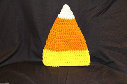Corn Hat Candy - Ready to mail - Halloween Candy Corn crochet TODDLER cap - fits most TODDLERS fit head approx 14 to 16 inches - 100% acrylic yarn - smoke free - pet free - all new materials used