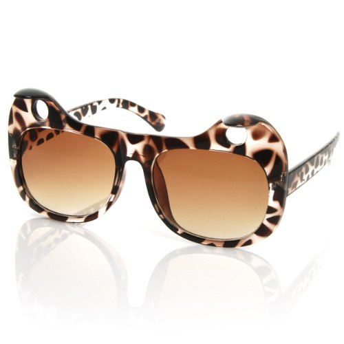zeroUV - Designer Inspired Womens Fashion Curled Cat Ear Cut-Out Cat Eye Sunglasses (Tortoise - Glasses Wierd