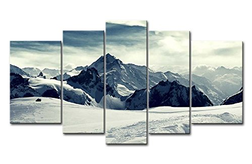Yuanclllp - Natural Landscape Paintings Wall Art Snowy Mountains Cloudy Sky 5 Panels Picture Print on Canvas for Modern Home Decoration