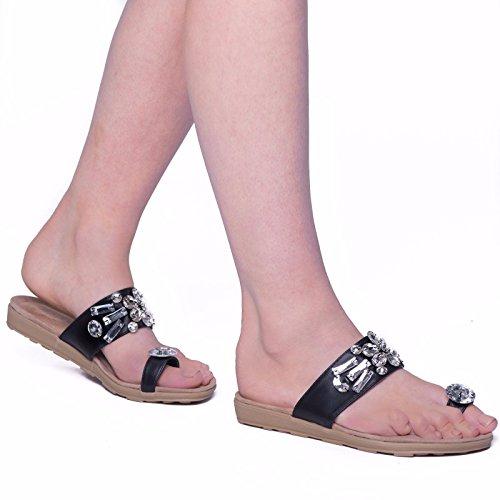 SnobUK - sandalias de fiesta mujer negro