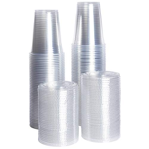 [ZEML] 100 Sets Plastic Cups With Lids, Smoothie Cups, Milkshake Cups - 16 oz. ()