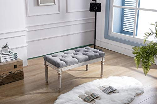 DM Furniture Ottoman Bench Upholstered Fabric Rectangle Entryway Bench, Tufted Piano Bench for 2 People, Rubber Wood Legs with Beautiful Carved Pattern for Bedroom Living Room Dining Room Grey