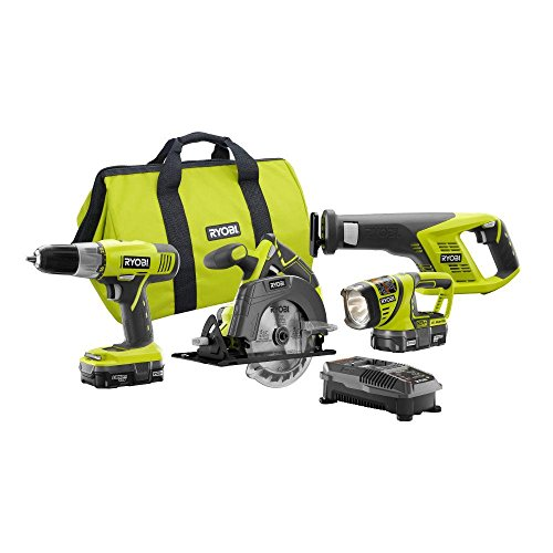Ryobi P883 One+ 18V Lithium Ion Cordless Contractor's Kit (8 Pieces: 1 x P704...