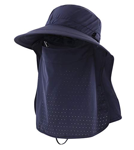 Home Prefer Mens Sun Protection Hat UPF50+ Fishing Hat Neck Flap Face Cover Mesh Bucket Hat Navy Blue