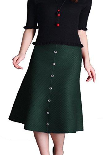 Helan femmes couleur pure longueur au genou Jupes tricoter avec boutons Vert