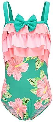 Mardonskey Girls One Piece Swimsuits Hawaiian Ruffle Swimwear Kids Beach Bathing Suit for Vacation